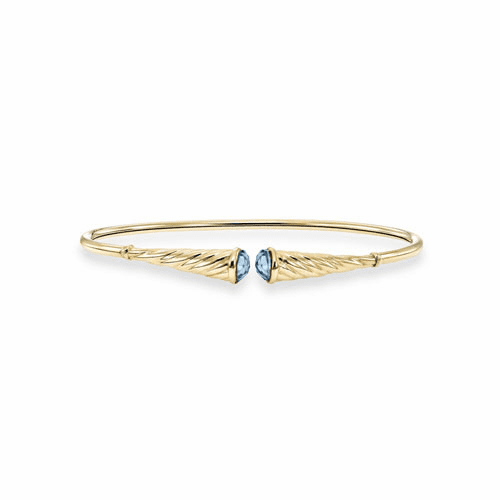 14k Gold Italian Cable Flexible Cuff Bracelet with Blue Topaz
