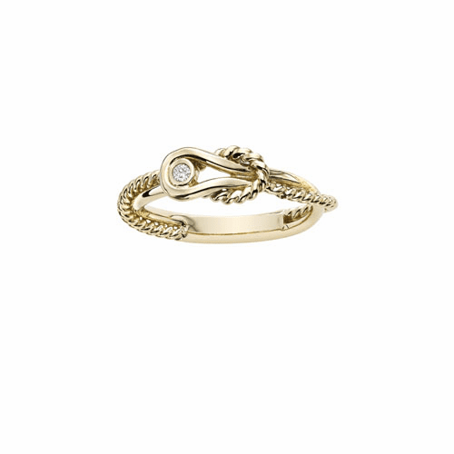 14k Gold Italian Cable L'Infinito Ring with.025ct Diamond