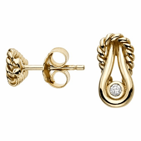 14k Gold Italian Cable L'Infinito Stud Earrings with .050ct Diamonds