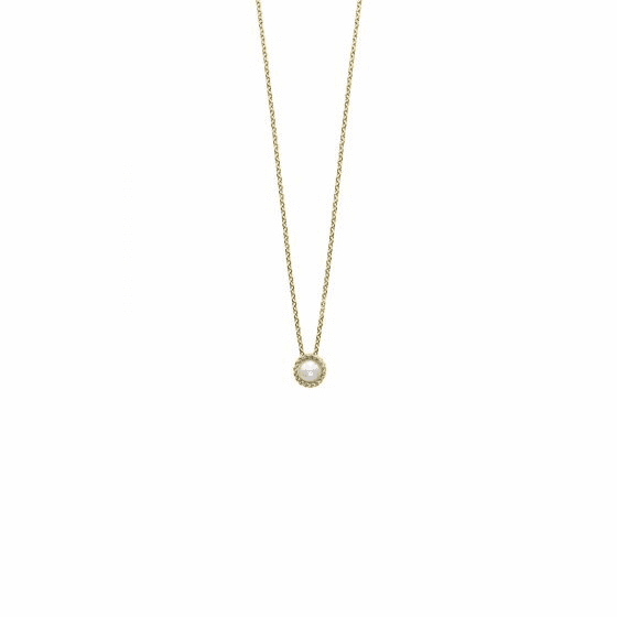 14k Gold Italian Cable Necklace with Pearl