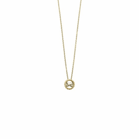 14k Gold Italian Cable Two-tone Large X Necklace