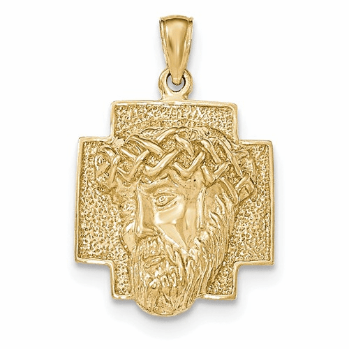 14k Gold Polished 2-d Large Jesus Head With Crown Pendant K5584