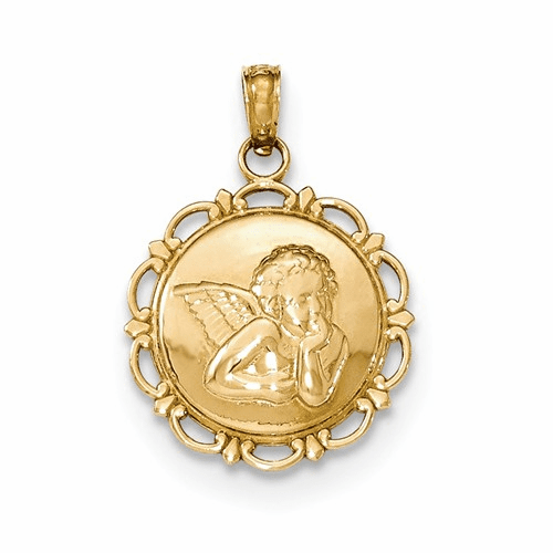 14k Gold Polished Angel/cherub On Round Scallop Frame Pendant K5691