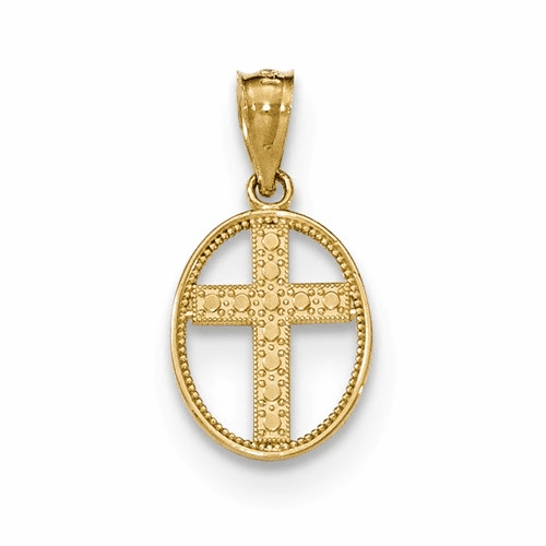 14k Gold Polished Cross In Oval Pendant Xr1504