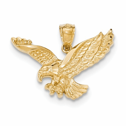 14k Gold Polished & Textured Eagle Pendant K5336
