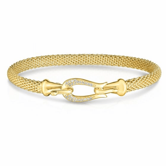 14k Gold Popcorn Buckle Bangle with .13ct Diamond
