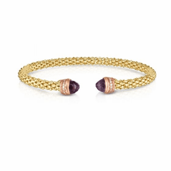14k Gold Popcorn Cuff with Amethyst and .09ct Diamonds