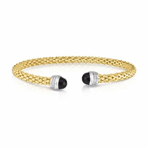 14k Gold Popcorn Cuff with Black Onyx and .09ct Diamonds