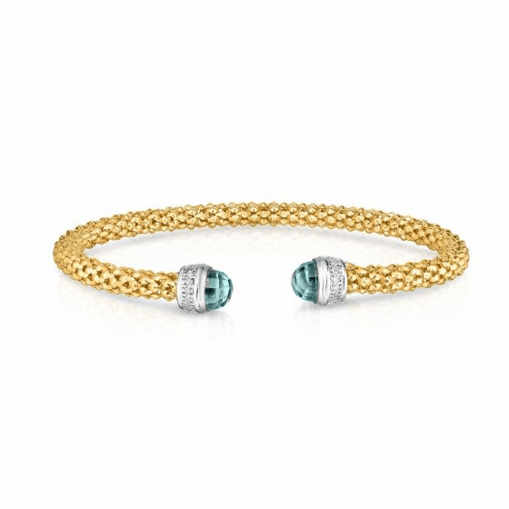 14k Gold Popcorn Cuff with Blue Topaz and .09ct Diamonds
