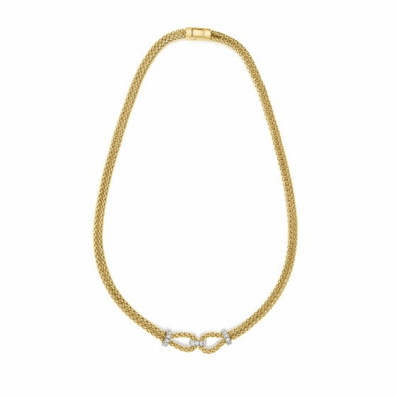 14k Gold Popcorn Double Knot .36ct Diamond Popcorn Necklace.