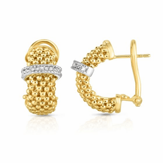 14k Gold Popcorn Earrings with .10ct Diamond