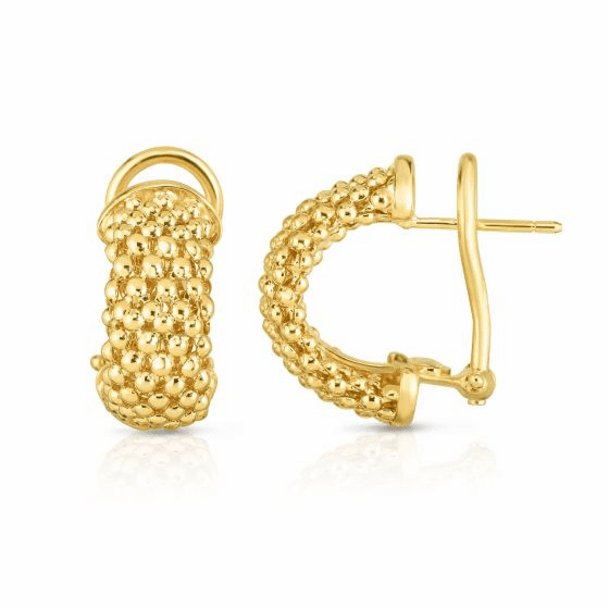 14k Gold Popcorn Earrings with Omega back clip