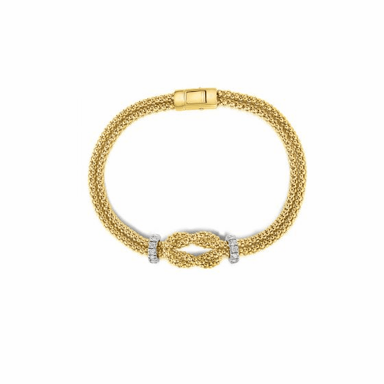 14k Gold Popcorn Hercules Knot Bracelet with .24ct Diamonds