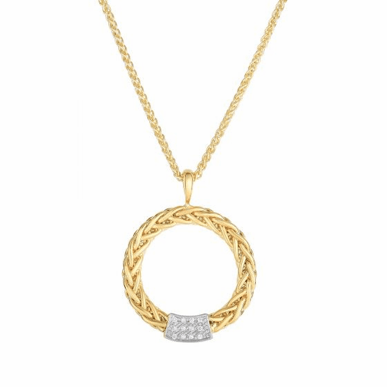 14k Gold Round Woven Diamond Pendant Necklace