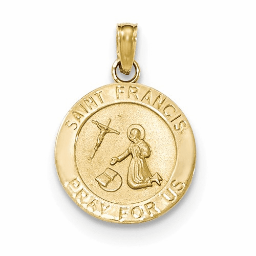 14k Gold Satin And Polished Finish Saint Francis Medal Pendant K5664