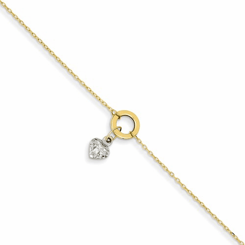 14k Gold Two-tone Circle/dia. Cut Puff Heart Anklet Ank243-9