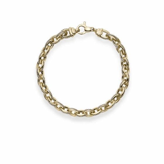 14k Gold Two-tone Oval Link Bracelet with Cable Inlay