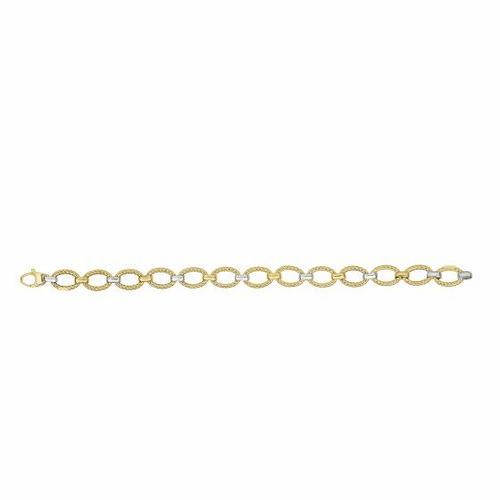 14k Gold Yellow & Rhodium Finish Shiny Textured Oval Link Necklace