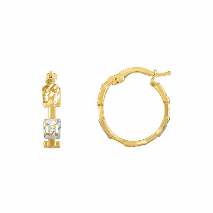 14K Gold Yellow/White Finish Hoop Earring with Hinged Clasp - YWER5272