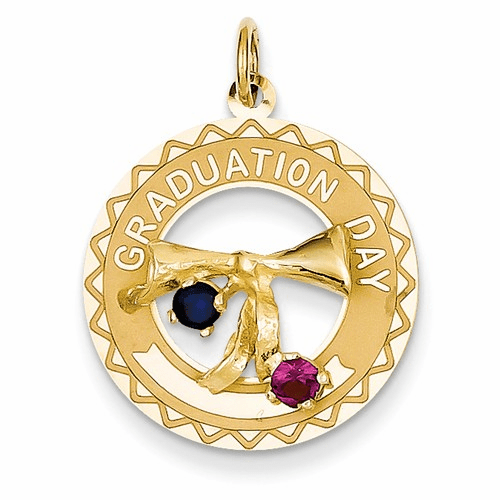 14k Graduation Day Charm With Synthetic Stones Charm Xac331