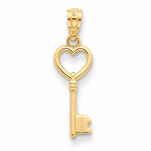 14k Heart Key Polished Pendant Yc1029