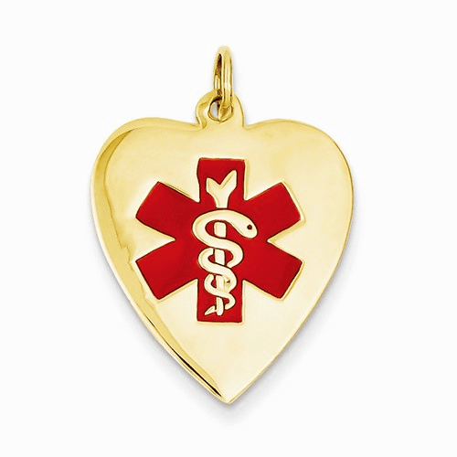 14k Heart-shaped Polished Enameled Engravable Medical Pendant