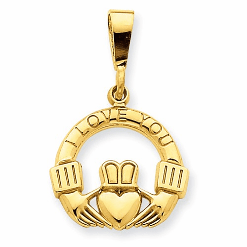 14k I Love You Claddagh Pendant D665