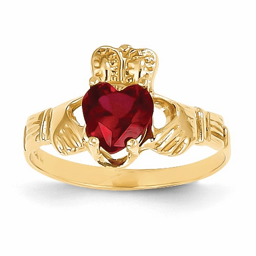 14k January Birthstone Claddagh Ring R487