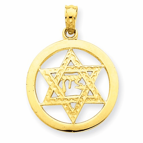 14k Jewish Chi In Star Of David Pendant C3986
