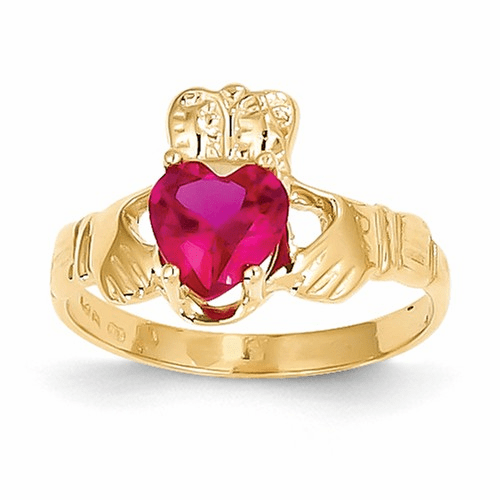 14k July Birthstone Claddagh Ring R493