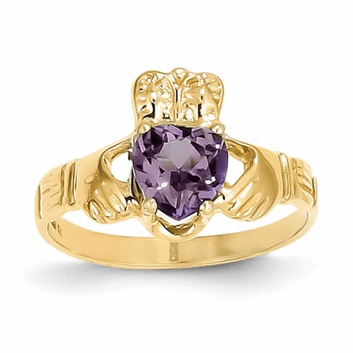 14k June Birthstone Claddagh Ring R492