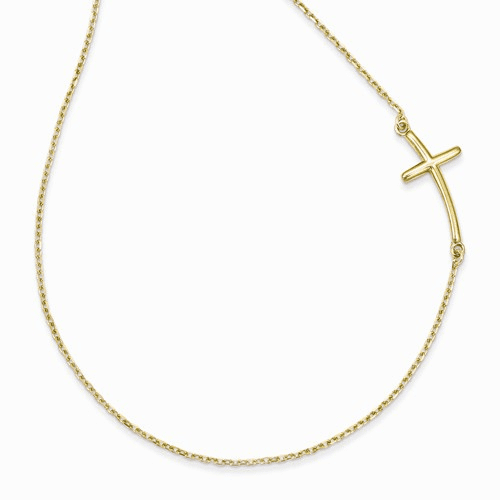 14k Large Sideways Curved Cross Necklace Sf2082-19