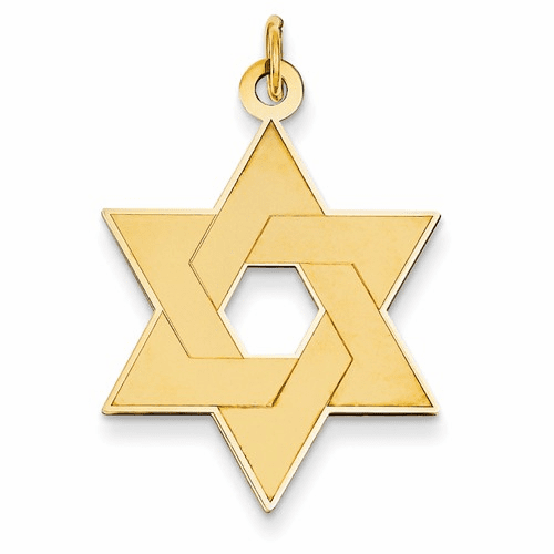 14k Laser Designed Star Of David Pendant Xr986