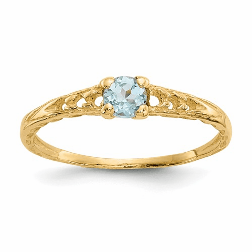 14k Madi K 3mm Aquamarine Birthstone Baby Ring Gk126