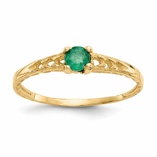 14k Madi K 3mm Emerald Birthstone Baby Ring Gk128