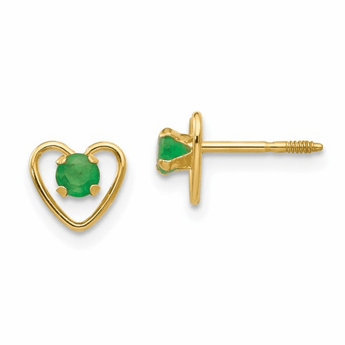 14k Madi K 3mm Emerald Birthstone Heart Earrings Gk104