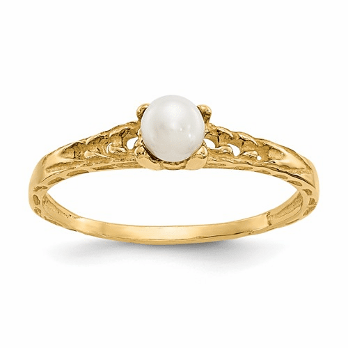 14k Madi K 3mm Fw Cultured Pearl Birthstone Baby Ring Gk129
