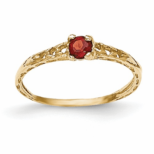 14k Madi K 3mm Garnet Birthstone Baby Ring Gk124