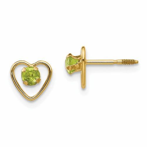 14k Madi K 3mm Peridot Birthstone Heart Earrings Gk107