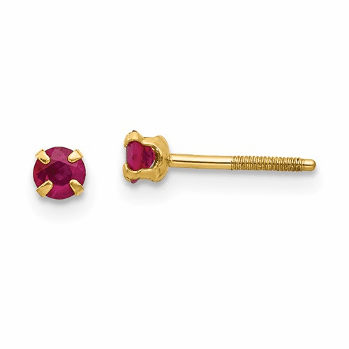14k Madi K 3mm Ruby Earrings Gk118