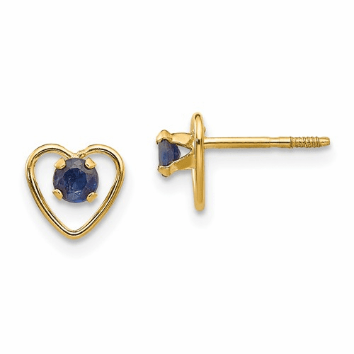 14k Madi K 3mm Sapphire Birthstone Heart Earrings Gk108