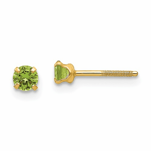 14k Madi K 3mm Synthetic Peridot Earrings Gk200