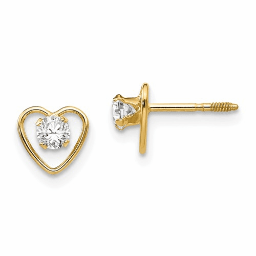 14k Madi K 3mm White Zircon Birthstone Heart Earrings Gk103