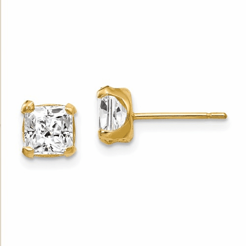 14k Madi K 5mm Square Cz Post Earrings Se1897