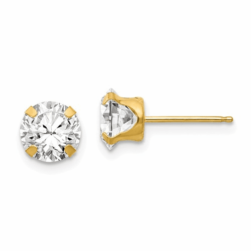 14k Madi K 6.5mm Cz Post Earrings Se280