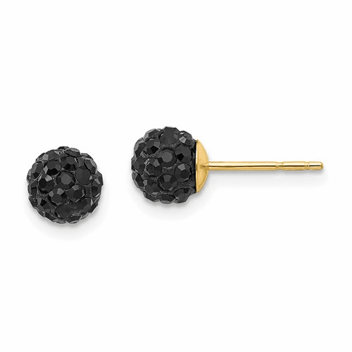14k Madi K 6mm Black Crystal Post Earrings Se2202