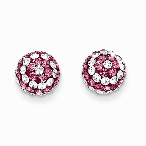 14k Madi K 8mm Pink/clear Crystal Post Earrings Se2206