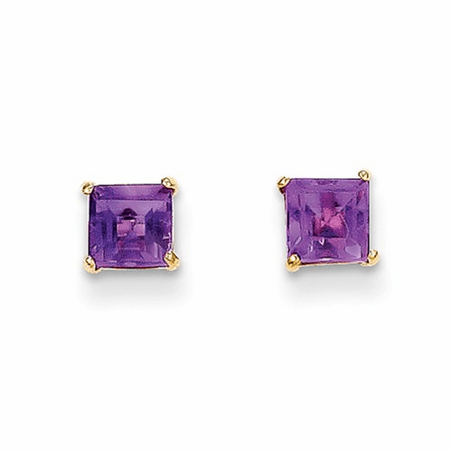 14k Madi K Amethyst 4mm Square Post Earrings Se2280