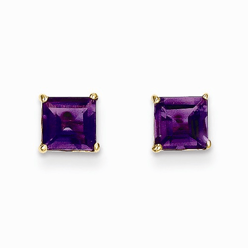 14k Madi K Amethyst 5mm Square Post Earrings Se2281