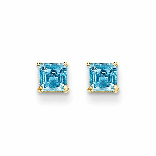 14k Madi K Blue Topaz 4mm Square Post Earrings Se2282